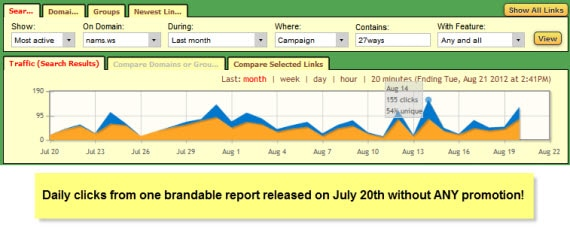 MyNAMS brandable report one month old traffic stats