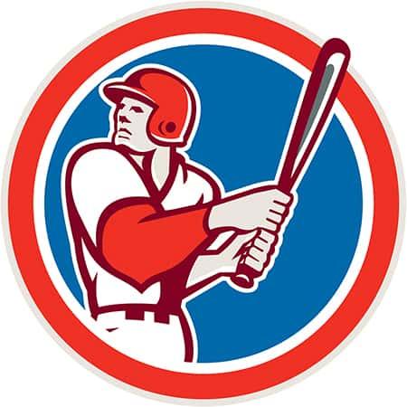 American Baseball Player Batter Hitter Circle Retro
