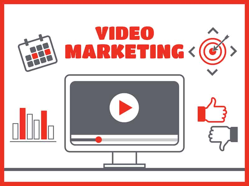 Video marketing. Abstract vector concept background. Goal and target, aim and camera, optimization marketing